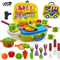 NHR Pretend Play Carry Along Kitchen Food Play Set with Wheel Suitcase and Stickers for Girls (26 Pieces, Multicolor)