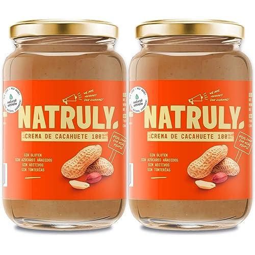 NATRULY Burro di Arachidi Naturale Senza zucchero, Senza Glutine e Senza Olio di Palma - 100% Naturale, 100% Vegan -Confezione 2x500g