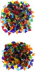 Segolike 500 Pieces Mixed Color Clear Triangle Rhombus Shape Glass Mosaic Tiles Pieces for Art Crafts Supplies