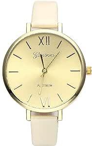 JSDDE Uhren,Genf Elegante Damen-Armbanduhr XS Slim PU Lederarmband Ladies Dress Analog Quarzuhr Minimalismus Damenuhr,Beige
