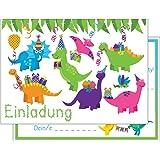 Set: 15 Einladungskarten Kindergeburtstag: Dinosaurier Geburtstagseinladungen Einladungen Geburtstag Kinder Jungen Mädchen (15 Karten )