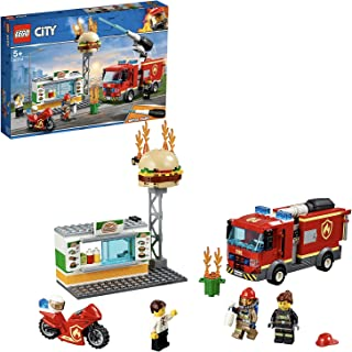 LEGO 60214 City Burger Bar Fire Rescue Building Set with Truck and Motorbike Toy Vehicles, Firefighter Minifigure and Fire Re