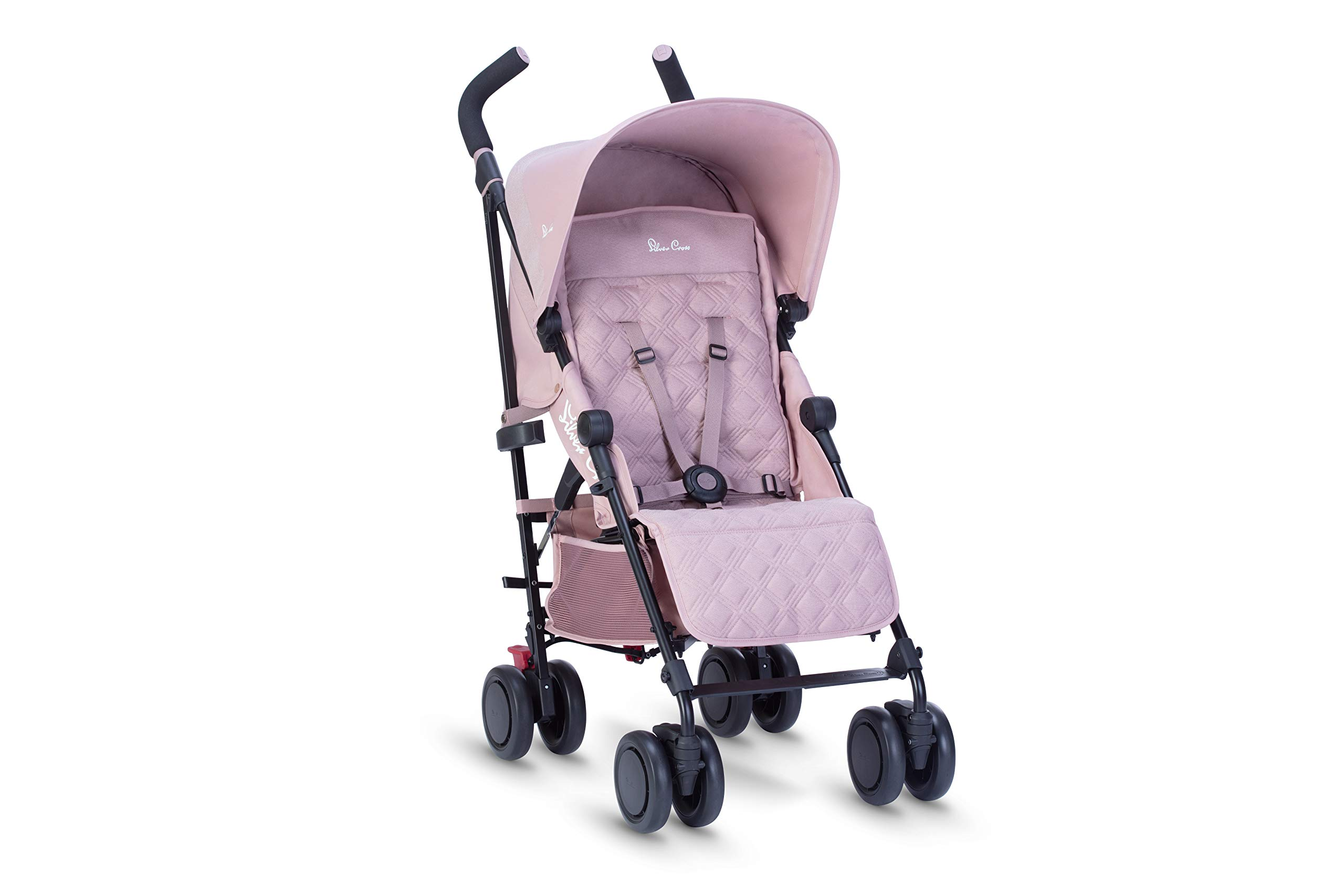 Silver Cross Pop Stroller, Compact and Lightweight Pushchair - Blush Silver Cross NEWBORN TO TODDLER: Suitable from birth up to toddlers (25kg), sitting upright to watch the world, or reclining to a lie-flat position WATER AND WIND RESISTANT: Ideal for all weather conditions to keep your baby warm and protected from wind and rain LIGHTWEIGHT AND COMPACT: Quick and easy one-handed fold feature with a carry handle for ease positioned on the side of the matte black chassis 3