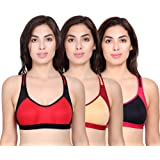 The Bra Man Women's Cotton Padded Non-Wired Sports Bra (Pack of 3)