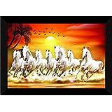 SAF 7 Running Horses at Sunrise Vastu UV Textured Multi-Effect Framed Painting 11 Inch X 14 Inch SANFK173, Multicolour,Animal