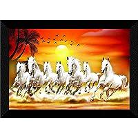 SAF 7 Running Horses at Sunrise Vastu UV Textured Multi-Effect Framed Painting 11 Inch X 14 Inch SANFK173, Multicolour…