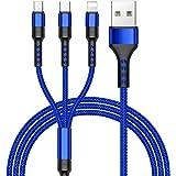 ZKAPOR Multi Cavo di Ricarica, 3 in 1 Multiplo Cavetto Micro USB Tipo C Nylon Intrecciato Cavo di Ricarica USB Compatibile pe