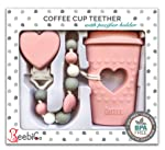 BPA Free Pacifier Clip Holder Set - Baby Teething Toys - Silicone Chew Beads and Coffee Cup Teether with Heart for Babies...