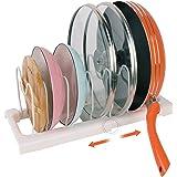 Porte-casseroles Support en Acier de haute qualité & Plastique rangement cuisine avec 7 Compartiments Réglables Parfaite pour