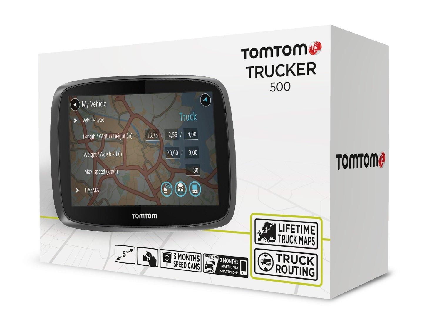 TomTom-Trucker-500-LKW-Navigationsgert-13-cm-5-Zoll-kapazitives-Touch-Display-Sprachsteuerung-ClickGo-Halterung-TrafficLifetime-LKW-Karten-schwarz