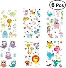TOYMYTOY 6 Sheets Cartoon Animal Temporary Tattoos Waterproof Stickers Party Favors for Boys Girls
