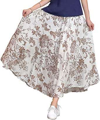 Evedaily Jupe Longue Imprimé Fleur Bohême en Coton pour Femme