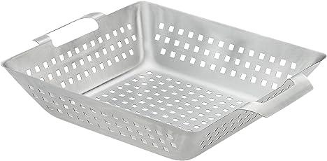 Bruzzzler Grill-Korb aus Edelstahl, für Grill und Backofen, bräunt Fleisch, Fisch und Gemüse gleichmäßig, einfache Reinigung in der Spülmaschine, ca. 28 x 34 cm