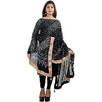 Kalpit Creations Women's Jaipuri Rajasthani Silk Bandhani Bandhej Multi-Colored Heavy Dupatta with Gota Work and latkan