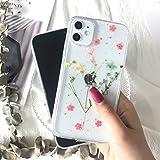 Tybiky Äkta blommor fodral för iPhone SE 2020 mobiltelefonfodral torkad naturlig blomma fodral kristall gel skyddande skyddan