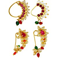 VAMA FASHIONS Pink Gold Plated Marathi Nath Combo Nose Ring without Piercing for Women
