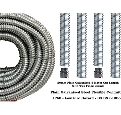 Trade Size 20mm - 5 Meter Cut Length 20mm /& 25mm Premium PVC Covered Flexible Conduit 5 Meter Cut Lengths with Glands