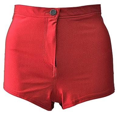 Womens Ladies Shiny High Waisted Button Pants Disco Shorts: Amazon ...