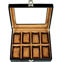 Leather World 8 Slots Watch Box Case Leatherette Storage Organizer Men Women