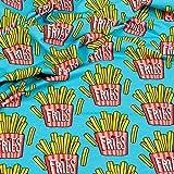 Stoff Sweat Hamburger Liebe OMG Fries türkis Frittensweat