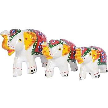 Jaipuri Haat Handicrafted Set Of 3 Showpiece Elephant For Decoration (9X7Cm ,7X 5Cm ,6X 4Cm)