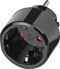 Brennenstuhl Reisestecker / Reiseadapter (Reise-Steckdosenadapter für: USA Steckdose und Euro Stecker) Farbe: schwarz