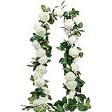 SHACOS 3 Pcs Pivoine Blanc Artificielles de Soie Guirlande de Fleur Artificielle Suspendu 600cm pour Décoration du Mariage Fê