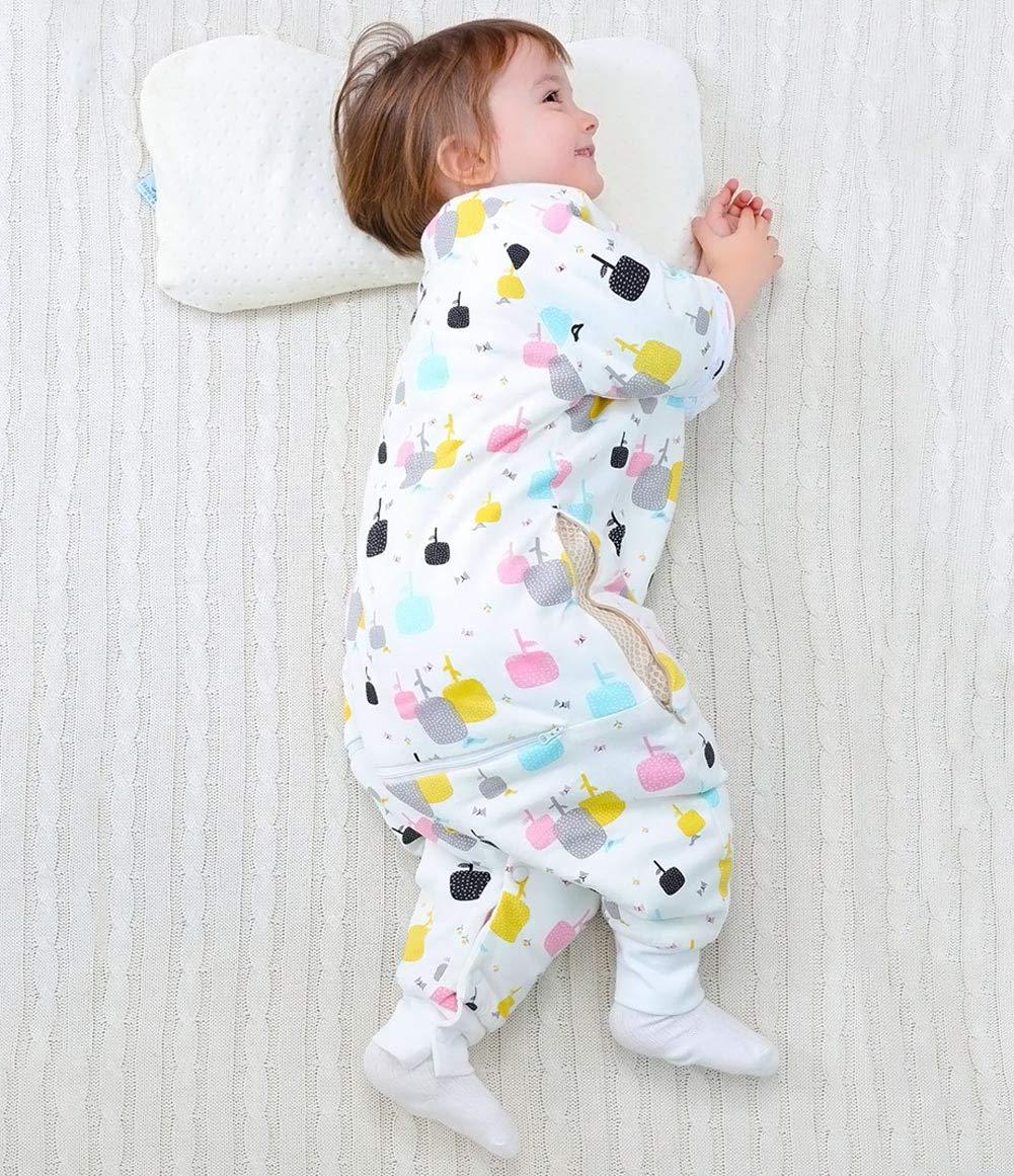 Happy Cherry – Saco de Dormir con Zapatos de Algodón para Bebé Niña con Mangas Largas Cremallera Pijama de Niñas para Otoño Invierno Cálico Infantil Cómodo