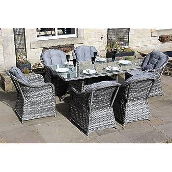 Amazon.de: Gartenmöbel-Set aus Rattan, 6 Sitze, langer Tisch, Grau