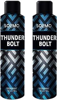 Amazon Brand - Solimo Thunder Bolt Deodorant For Men, 150 ml (Pack of 2)