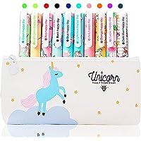 10 Pz Unicorno Penne con Astuccio Regalo di Compleanno per Bambine Età 3 4 5 6 7 8 9 10 Anni, TOYESS Simpatiche Penne…