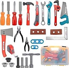 iVansa Werkzeugkoffer 27er Set Werkzeug Spielzeug Set Spielwerkzeug Kinder Tool Set Rollenspiel Pädagogisches Spielzeug Geschenke für Jungen Mädchen
