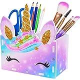 Beinou Pot à crayons licorne pour enfants, pot à crayons et pinceaux de maquillage, organiseur de bureau, rangement cosmétiqu
