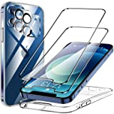 KKM Funda Compatible con iPhone 12, 2 Pack HD Cristal Protector de Pantalla y 2 Vidrio Templado Protector de Lente de Cámara,