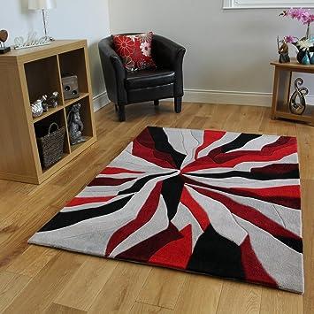 Tapis Moderne Rouge Noir et Gris Motif Abstrait - 3 Tailles ...