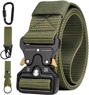 AivaToba Cintura Tattica Uomo Heavy Duty Nylon Cintura Cobra Militare Esercito con Fibbia in Metallo a Sgancio Rapido per Caccia Trekking Esercizi Sportive Lavoro,125cm