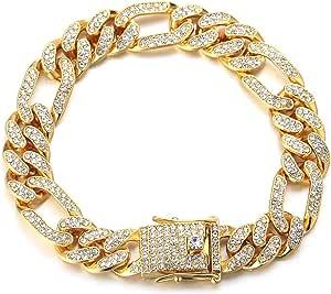 Halukakah Catena in Oro Iced out,12MM Catena Cubana da Uomo Miami Placcato in Oro 18 Carati/Platino Placcato in Oro Bianco Collana Girocollo Braccialetto,Cz Completa Diamante,Regalo per Lui