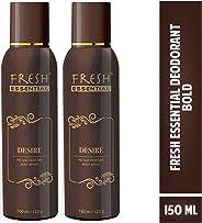 Fresh Essential No Gas Perfume Body Spray - Desire, 150 ml/122 g (Pack of 2)