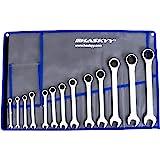 Haskyy 12-delad kombinationsnyckelsats 8-19 mm öppen ände spärrnyckel