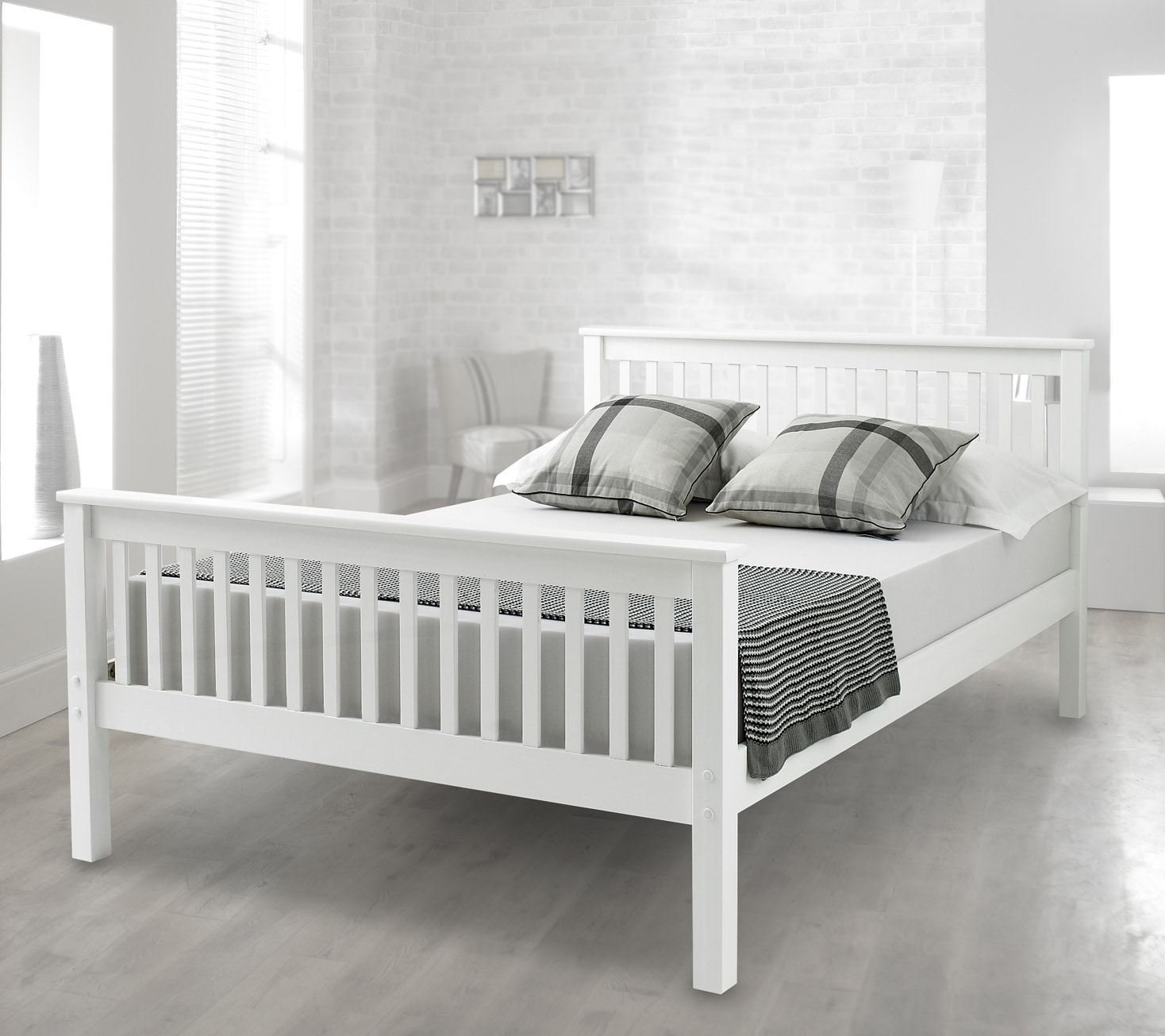 happy beds lisbon high foot end bed contemporary white finish  - happy beds lisbon high foot end bed contemporary white finish solid pinewood frame sleep ' small double  x  cm amazoncouk kitchen  home