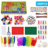 Faburo 388psc Kit de Manualidades para niños, Pipe Cleaners Crafts Set Pompones Ojos Manualidades Kit Crafts Set y Pipe Chene
