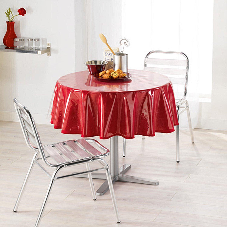 Nappe ronde transparente motifs ronds blancs for Nappe de table ronde