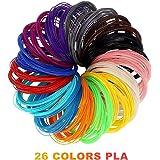 Stylo 3D Filament Recharge PLA - 26 Couleurs 20 Pieds (6M) Chaque Couleur 1.75mm Pochoir Aléatoire Lueur dans l'Obscurité Bois Peau Meilleure pour la Santé des Enfants