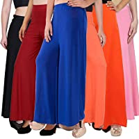 PIXIE lets work together! Casual Wear Malai Lycra Pant Palazzo Combo (Pack of 6) - Free Size