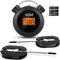 AGM Termómetro de Barbacoa, Termómetro Digital inalámbrico para Cocina, con Control Remoto, Bluetooth, con Sondas de...