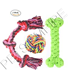 Dog Toy Set of Rope Bone Rope Ball and Knotted Rope Various Rope Dog Toy for Medium to Large Dog Dental Chews