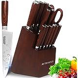 Couteaux cuisine,ensembles de couteaux de cuisine, couteaux de chef avec bloc en bois, set couteaux professionnels, lot de co