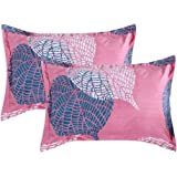 """VAS COLLECTIONS® 105 TC Premium 100% Cotton King Size Printed Design Pillow Cover -20""""X30"""" Inches,Set of 2 Pieces (Pink & Gre"""