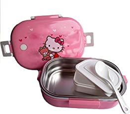 Grab Offers Rectangle Stainless Steel Insulation Kids School Lunch Box Cartoon Characters for School (Pink Lunchbox)