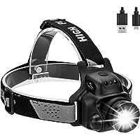 EZfull Lampe Frontale à LED avec capteur Tactile Fonction USB étanche Casque Rechargeable